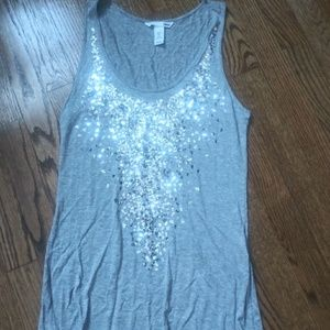 H&M grey sequined tank size small